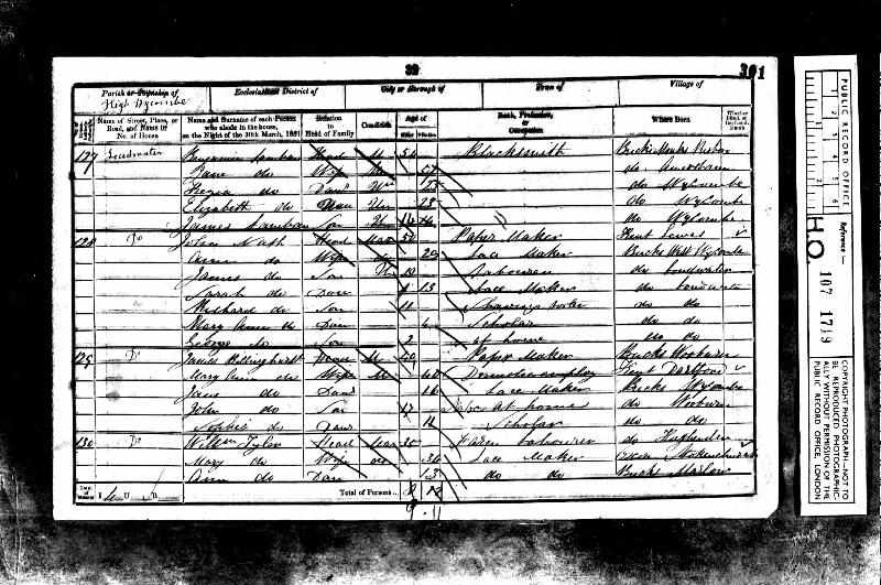 Billinghurst (Mary Ann nee Rippington) 1851 Census