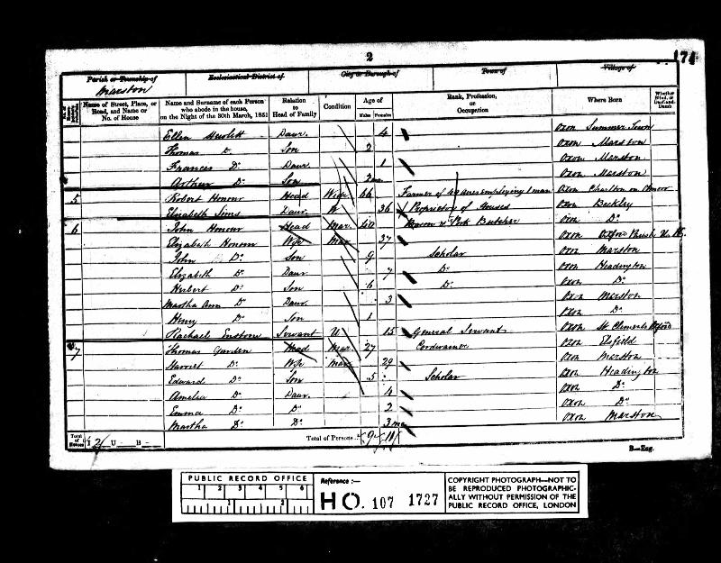 Honour (Elizabeth) 1851 Census