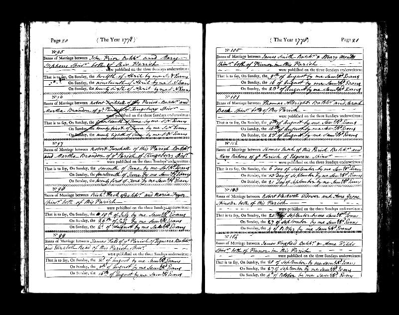 John Prior & Mary Stephens 1778 Marriage Banns Record