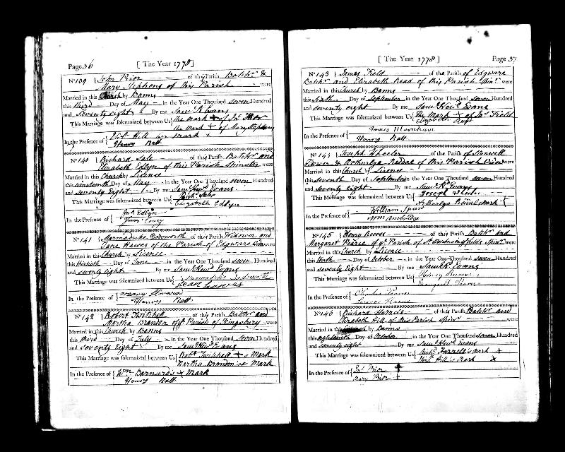 John Prior & Mary Stephens 1778 Marriage Record