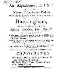 Knights of the Shire of Buckingham 1784 Frontispiece