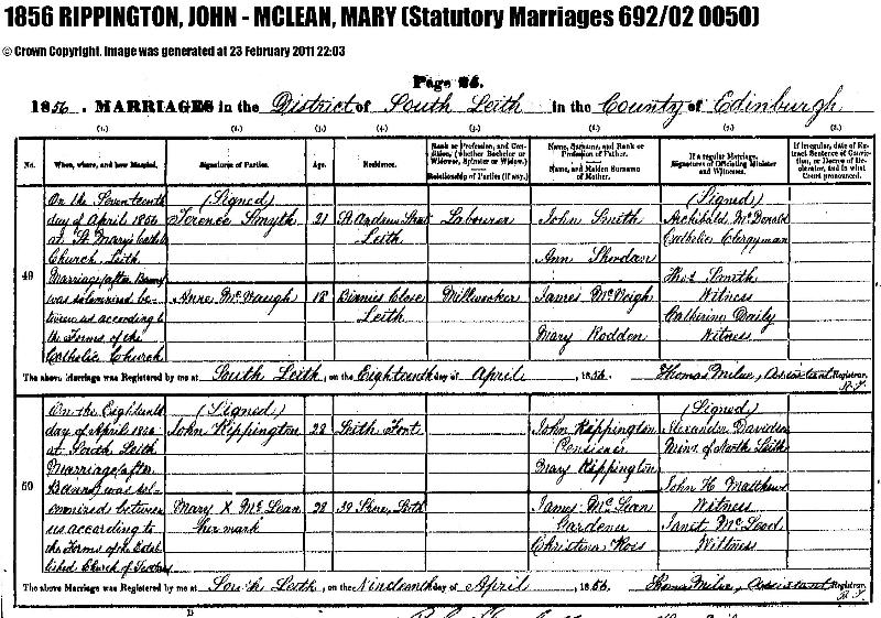 Rippington (John & Mary) 1856 Marriage Record