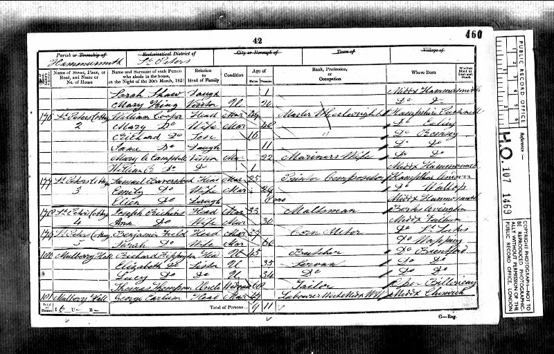 Rippington (Richard 1806) 1851 Census