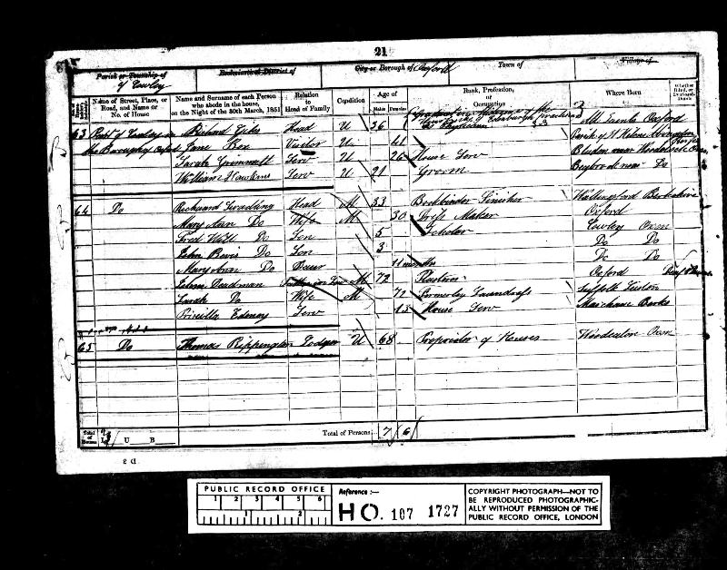 Rippington (Thomas) 1851 Census
